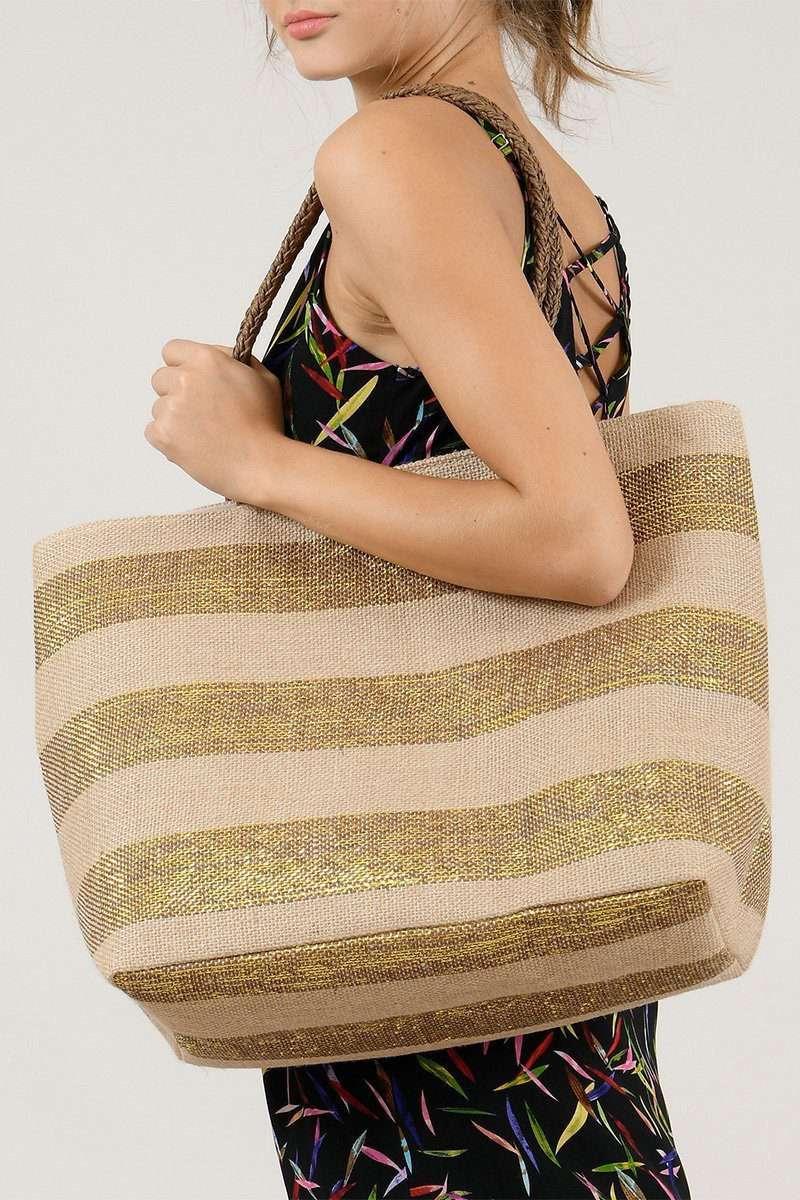 Stripy Gold Bag