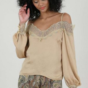 Cold Shoulder Top Beige